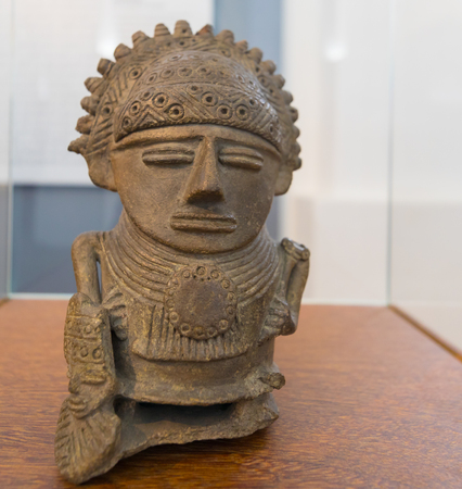 Bogota,  Colombia  March 13  The vessel where offerings of figurines of gold, cotton, quartz or emerald were placed in sixth century BC Exhibited in National Museum. Shoot on March 13, 2019