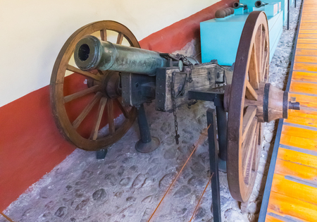 Bogota,  Colombia March 13 This cannon of the Spanish artillery of 1700 is exhibited in the House Museum of Simon Bolivar who who freed the Colombian from the Spaniards. Shoot on March 13, 2019