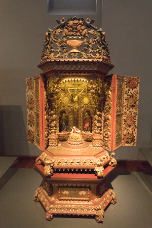 Bogota,  Colombia  March 13  This altarpiece buit from a Spanish craftsman  in eighteenth century BC, is exhibited in the National Museum. Shoot on March 13, 2019