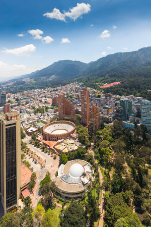 Bogota,  Colombia   March 18  Bogota aerial view on Independece park, Arena and Planetarium,  located in the North of the city. Shoot on March 18, 2019 Editorial