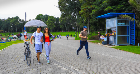 Bogota April 27  Walking in Simon Bolivar located in the center of the city, proud of the locals for its big lake that can be visited by boat tours. Shoot on April 27, 2019 報道画像