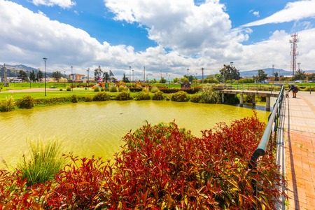 Tunja,  Colombia   March 25 Lake view of Library Park located in the Northern of Tunja appreciated for its natural scenery. Shoot on March 25, 2019