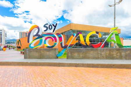 Tunja,  Colombia May 10 This sign welcomes visitors in the colonial city of Tunja. The sign is located in the historic center of the city.  Shoot on May 10, 2019