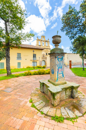 Tunja,  Colombia May 12, Pinzon Park and San Agustin monastry located in the historic center of the city represents a spotlight in a religious tour. Shoot on May 12, 2019 Editorial