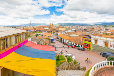 Zipaquira, Colombia June 8 the Panorama of of Zipaquira village. From this lookpoint  you can appreciate the architecture of this old village famous for its salt cathedral. Shoot on June 8, 2019