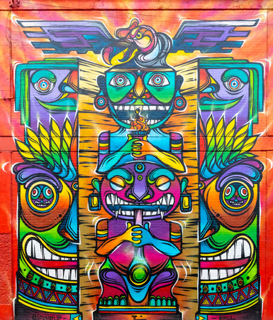 Bogota, Colombia July 9 This mural has been realized on a wall of one of the industrial districts of Bogota city known for its street art.Shoot on July 9, 2019