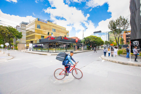 Bogota, July 6 Electric scooters in Usaquen district of Bogota that houses modern architectures and green plants respecting a sustainable growth. Shoot on July 6, 2019