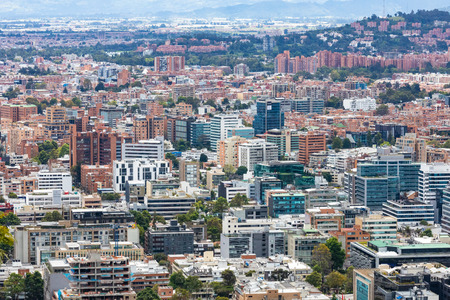 Bogota, July 6 aerial view of Usaquen district of Bogota that houses modern eco buildings respecting a sustainable growth. Shoot on July 6, 2019 Editorial