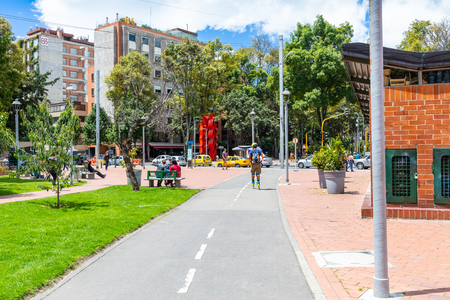 Bogota, July 6 Skateboarding in Virrey Park, Bogota that houses a big green area respecting a sustainable growth. Shoot on July 6, 2019 Editorial