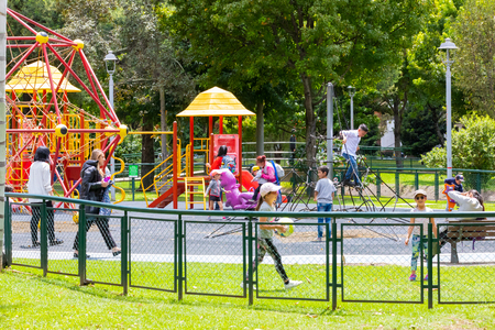 Bogota, July 6 Play area in Virrey Park Northern Bogota, a big green area that locals love for its natural sceneries. Shoot on July 6, 2019 Editorial
