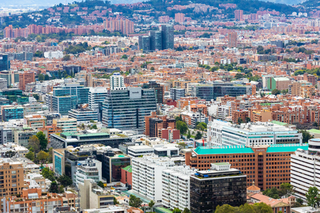 Bogota, July 6 aerial view of Usaquen district of Bogota that houses a lot of startups in modern coworking buildings. Shoot on July 6, 2019