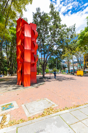 Bogota, July 6 Modern sculpture built in 2013 in Virrey Park, Bogota that?? houses a big green area respecting a sustainable growth. Shoot on July 6, 201