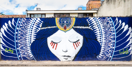Bogota, Colombia July 9 This mural has been realized on a wall of the Normandy districts of Bogota city known for its street art.Shoot on July 9, 2019 Editorial