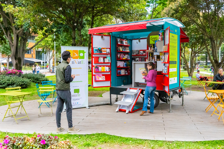 Bogota, July 6 Small library in?? Virrey Park Northern Bogota, a big green area that locals love for its natural sceneries, coffee, and cultural programs. Shoot on July 6, 2019 Editorial
