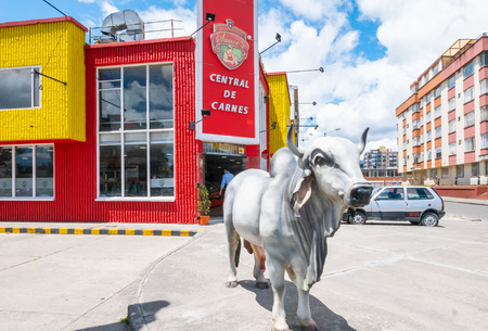 Bogota,  Colombia  July 7 Reproduction of ox in a butcher s shop yard  in Bogota. Malls are not common in this part of the city so families activities are growing up. Shoot on July 7, 2019 Editorial