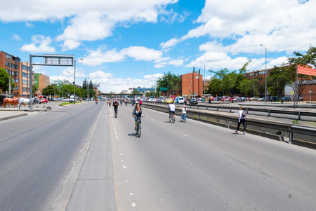 Bogota,  Colombia  July 7 biking in Usaquen district in Bogota that encourages the bike use a to reach a sustainable growth. Shoot on July 7, 2019 Editorial