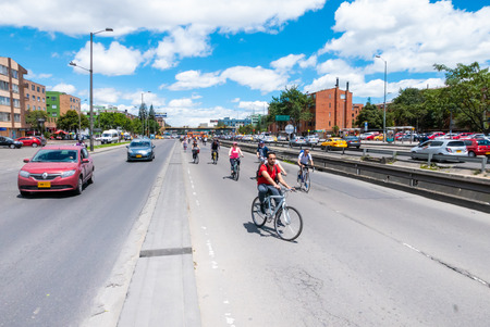 Bogota,  Colombia  July 7 biking in Normandy district in Bogota that encourages the bike use a to reach a sustainable growth. Shoot on July 7, 2019 Editorial
