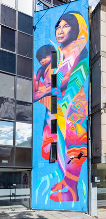 Bogota, Colombia July 9 This mural has been realized on a wall of the Usquen districts of Bogota city known for its street art.Shoot on July 9, 2019
