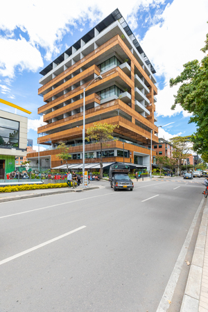 Bogota, July 6  Ecological building in Usaquen district of Bogota that  houses modern architectures and wooden terraces respecting a sustainable growth. Shoot on July 6, 2019