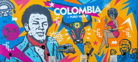 Bogota, Colombia July 9 This mural has been realized on a wall of one of the Usaquen districts of Bogota city known for its street art.Shoot on July 9, 2019