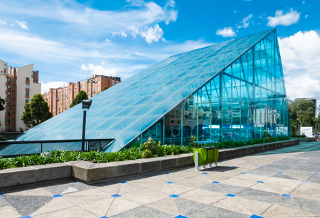 Bogota,  Colombia  July 7 Glass building of Maloka museum a science museum located in Bogota, Colombia. Visitors interact with a wide variety of exhibits. Shoot on July 7, 2019 Editorial