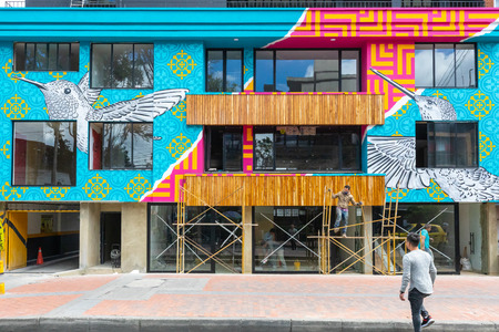 Bogota, Colombia July 7 Decorated façade in the Usaquen district of Bogota that houses modern eco buildings, restaurants, bars and modern brands. Shoot on July 7, 2019