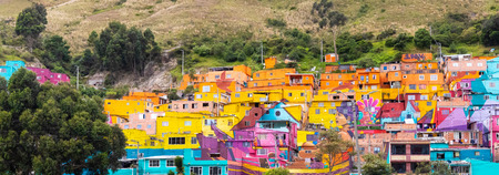 Bogota Colombia 24 July Panoramic view of Los Pueblos district that located on a hill is a nice district to rest after a day in the chaotic Bogota, Shoot on July 24, 2019