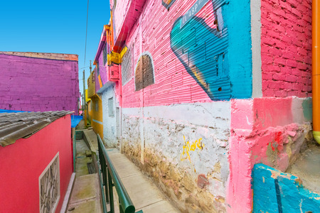 Bogota Colombia 24 July Colored alley in Los Pueblos district one of the oldest in Bogota that with its atmosphere is a spotlight to visit. Shoot on July 24, 2019