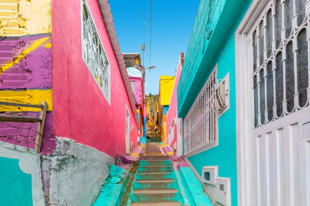 Bogota Colombia 24 July Visiting the alleys of Los Pueblos district one of the oldest in Bogota that with its charming architecture is a spotlight to visit in the capital. Shoot on July 24, 2019