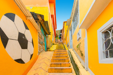 Bogota Colombia 24 July Visiting the alleys of Los Pueblos district one of the oldest in Bogota that with its bright colors is a spotlight to visit in the capital. Shoot on July 24, 2019