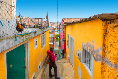 Bogota Colombia 24 July Visiting the alleys of Los Pueblos district one of the oldest in Bogota that with its history attracts tourists from all over the world. Shoot on July 24, 2019