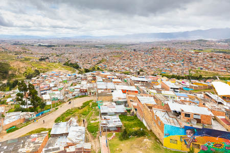 Bogota Colombia 24 July city roofs in the John Paul Sixth district located in the South of Bogota known for its youth people that love street art. Shoot on July 24, 2019 Editorial
