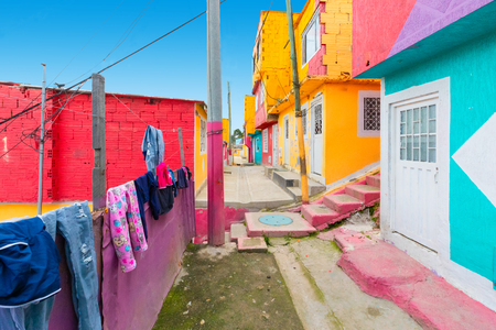 Bogota Colombia 24 July Colored houses in Los Pueblos district one of the oldest in Bogota that with its spring climate attracts visitors every day. Shoot on July 24, 2019