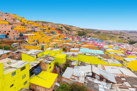 Bogota Colombia 24 July Panoramic view of Villa Gloria district that with its colorful houses is a nice place to visit in a short trip from Bogota, Shoot on July 24, 2019