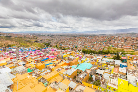 Bogota Colombia 24 July Visiting the alleys of John Paul sixth district one of the oldest in Bogota located on a hill that allows beautiful views on the capital. Shoot on July 24, 2019 Editorial
