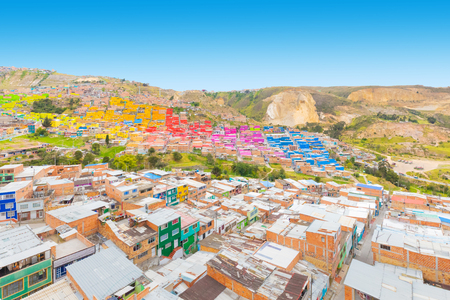 Bogota Colombia 24 July Visiting the alleys of New Colombia  district one of the oldest in Bogota that with its charming architecture is a spotlight to visit in the capital. Shoot on July 24, 2019 Editorial