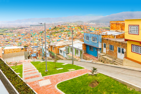 Bogota Colombia 24 July Panoramic view of the southern districts of  Bogota located on hills  and connected to the city by a cableway. Shoot on July 24, 2019 Editorial