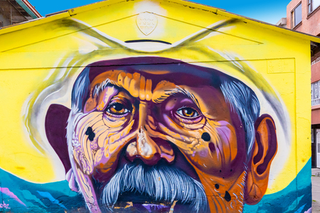 Bogota, Colombia July 9 This mural has been realized on a wall of one of the Juan Pablo II districts of Bogota city known for its street art.Shoot on July 9, 2019 Editorial