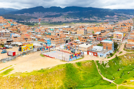 Bogota Colombia 24 July aerial view school sports fields in Manitas  district located on a hill of Bogota where live a lot of children that play here.  Shoot on July 24, 2019 Editorial