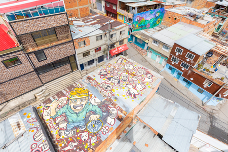 Bogota Colombia 24 July city roofs in the Sixth district located in the South of Bogota known for its youth people that love street art. Shoot on July 24, 2019