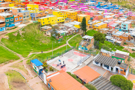 Bogota, Colombia. July 24 panoramic view of the old sports field. New Colombia district where live. Shoot on July 24, 2019 Editorial
