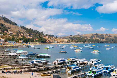 Titicaca Lake Peru, August 16 boats at the marina of Copacabana that bring tourists to visit the islands of Titicaca lake. Shoot on August 16, 2019