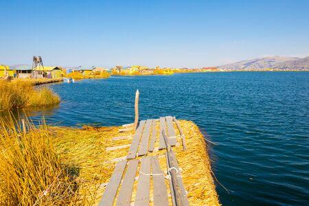 Peru Titicaca lake panoramic view docking dock