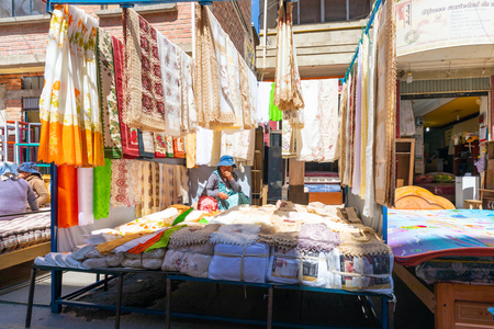 La Paz Bolivia August 22, lace for sale in one of the stalls in La Paz Market.  Bolivia is a country where many products are still handmade. Shoot on August 22, 2019 Redakční