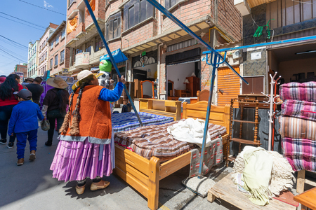 La Paz Bolivia August 22, Beds and mattresses for sale in the big market called 16th July set up in Northern La Paz every Thursday. Shoot on August 22, 2019 Redakční