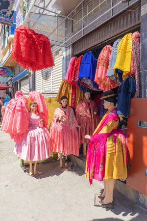 La Paz Bolivia August 22, Traditional clothes used by bolivian women  for sale in the big market called 16th July set up in Northern La Paz every Thursday. Shoot on August 22, 2019