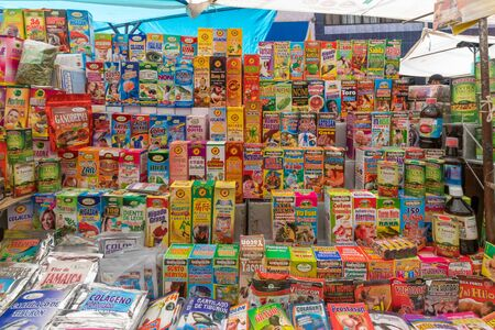 La Paz Bolivia August 22, Alternative and Chinese medicines for sale in the big market called 16th July set up in Northern La Paz every Thursday. Shoot on August 22, 2019
