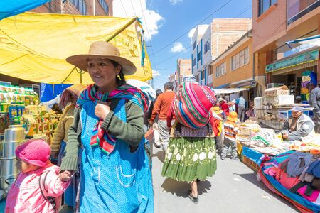 La Paz Bolivia August 22, Visiting and shopping in the big market called 16th July set up in Northern La Paz every Thursday. Shoot on August 22, 2019