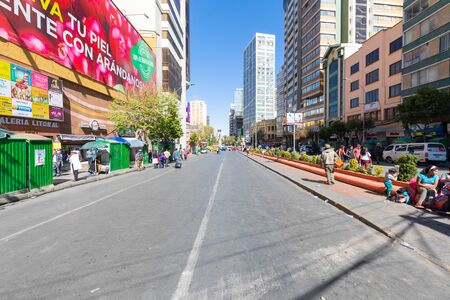 La Paz Bolivia August 26, this is one of the main avenues of downtown La Paz known for its shops and restaurants. Shoot on August 26, 2019