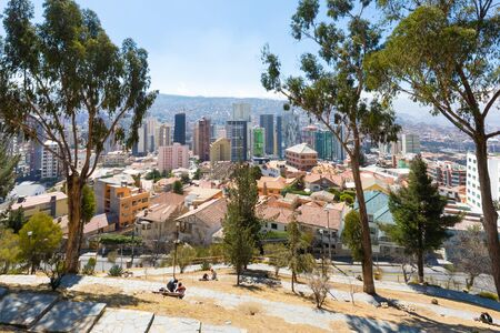 La Paz Bolivia August 26, city center from view point called Monticulo. Some people relax in the park. Shoot on August 26, 2019